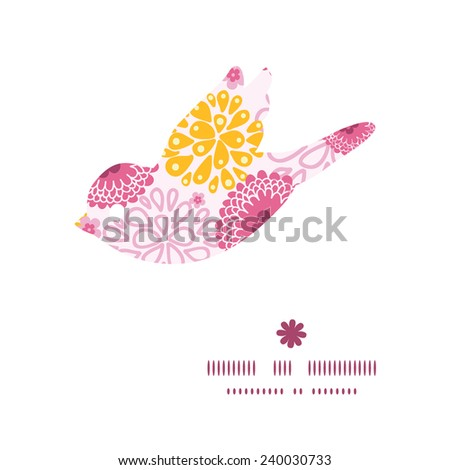 Vector pink field flowers bird silhouette pattern frame - stock vector