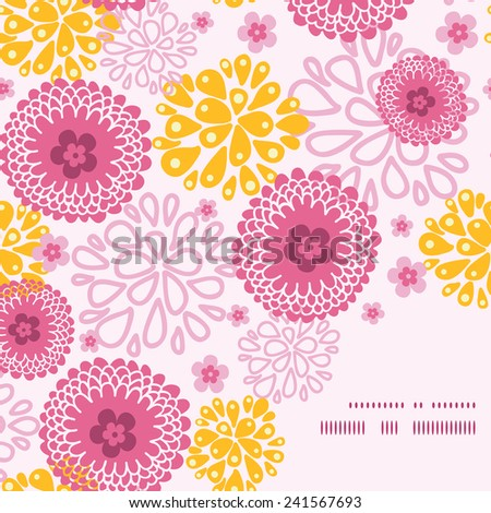 Vector pink field flowers frame corner pattern background - stock vector
