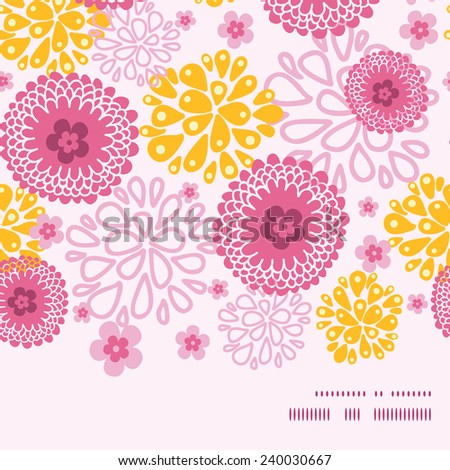 Vector pink field flowers horizontal frame seamless pattern background - stock vector