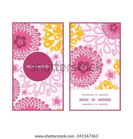 Vector pink field flowers vertical round frame pattern business cards set - stock vector