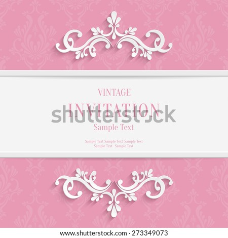 Vector Pink Floral 3d Christmas and Invitation Cards Background - stock vector