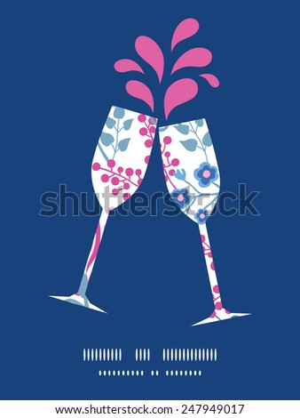 Vector pink flowers toasting wine glasses silhouettes pattern frame - stock vector