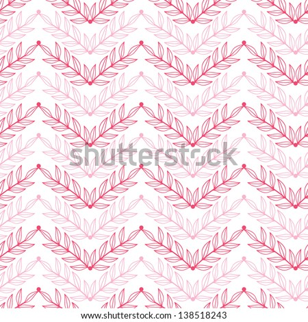Vector Pink lineart leaves chevron seamless pattern background with hand drawn elements - stock vector