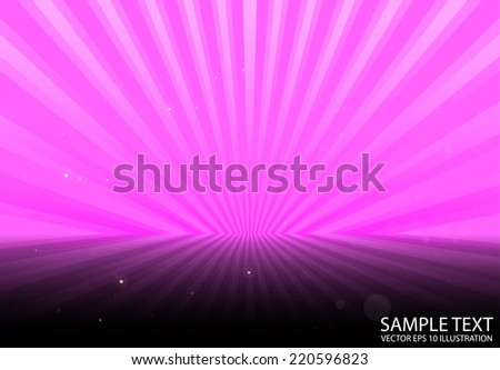 Vector pink rays spreading background  template - Abstract sparks over pink rays background illustration - stock vector