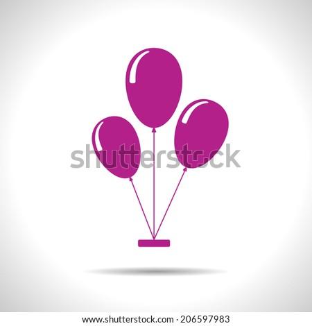 Vector pink three balloons flat icon. Eps10 - stock vector