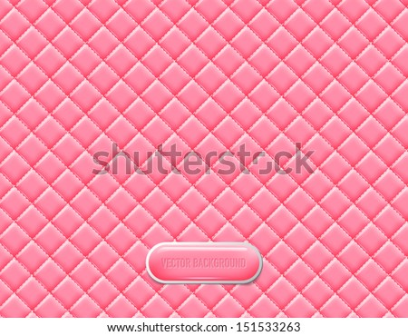 Vector pink vinyl upholstery padded glossy background - stock vector