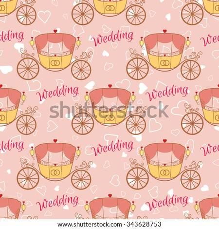 Vector pink wedding retro carriage with curls seamless pattern. Element for your wedding designs, valentine s day projects, and other your romantic projects. - stock vector
