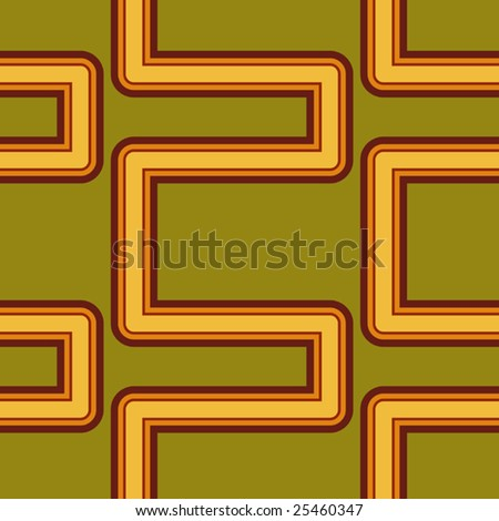 Vector Pipework Seamless Seventies Style Inspired Wallpaper - stock vector