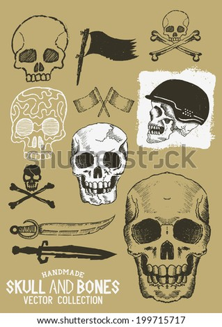 Vector Pirate Skull and Bones Set with various design elements. - stock vector