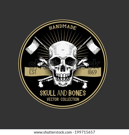 Vector Pirate Skull design label. - stock vector