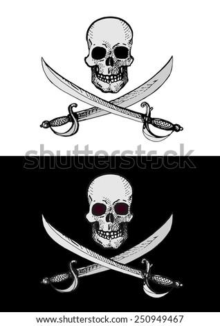 vector pirates sign on white and on black background - stock vector