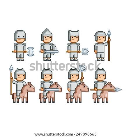 Vector pixel art army of knights and horsemen - stock vector