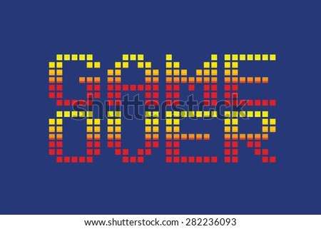vector pixel art style game over message isolated - stock vector