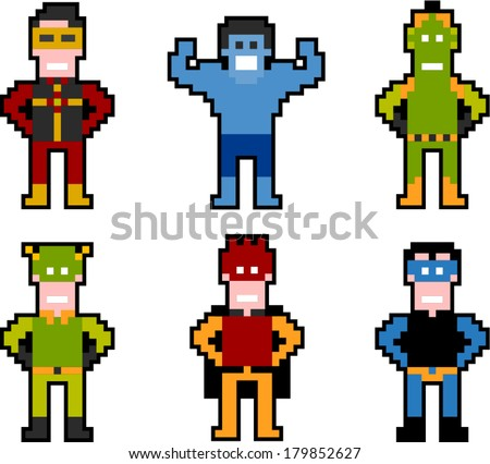 vector pixel art superhero set 1 - Separate layers for easy editing - stock vector
