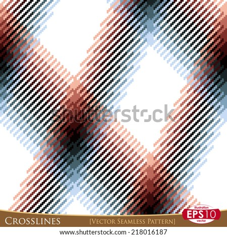 Vector pixel based seamless pattern. Textile with high detail made fabric texture of cross lines. - stock vector