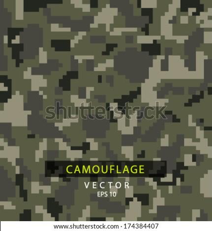 Vector pixel camouflage - stock vector