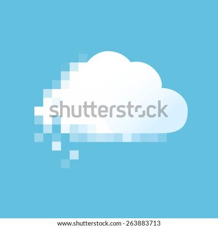Vector pixel cloud. - stock vector