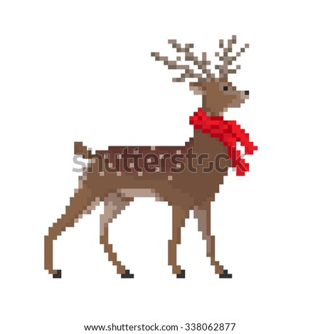 Vector pixel deer in red scarf isolated on white background. Christmas illustration. - stock vector