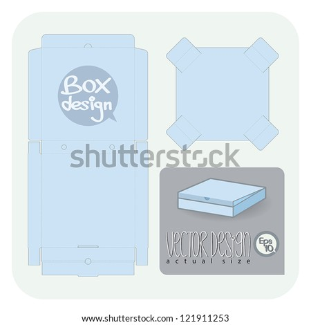 Vector Pizza package die cut (actual size) - stock vector