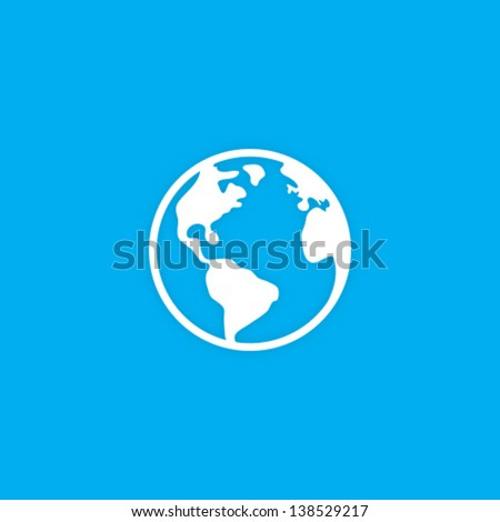 Vector Planet Earth Icon Symbol - stock vector