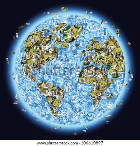 Vector planet earth piled with garbage as a concept of global pollution - stock vector