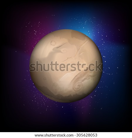 vector planet in universe, astronomy background - stock vector