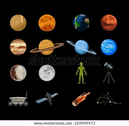 Vector planets flat icon set - stock vector