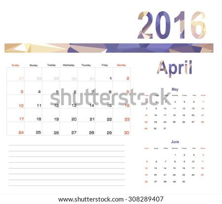 Vector planning calendar April 2016 - stock vector