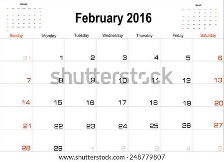 Vector planning calendar  February 2016 - stock vector