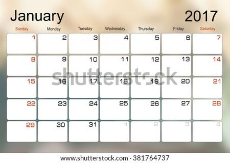 Vector planning calendar January 2017 Monthly scheduler. Week starts on Sunday. - stock vector