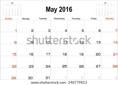 Vector planning calendar  May 2016 - stock vector