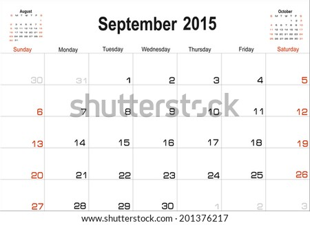 Vector planning calendar September 2015 - stock vector
