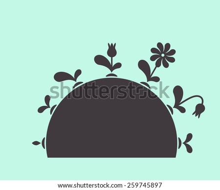 Vector plants growing seed foliage flowers on ground black set - stock vector