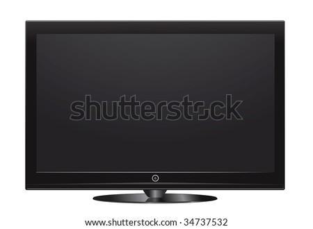 vector plasma lcd tv on white - stock vector