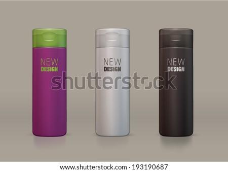 vector plastic bottle for new design shampoo or shower gel - stock vector