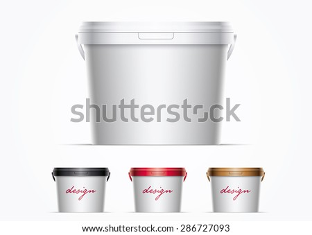 Vector plastic bucket illustration. Ideal for your mock up. Elements are layered separately in vector file. Color lids are just two global colors. Easy editable. Global CMYK colors. - stock vector