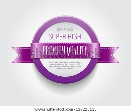 """Vector plastic round badge / banner decorated with purple ribbon, """"Premium Quality"""" - stock vector"""