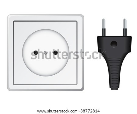 vector plastic socket isolated on white - stock vector