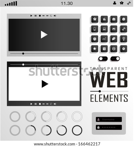Vector plat transparent Web, mobile Elements, icons. Buttons and Label - stock vector