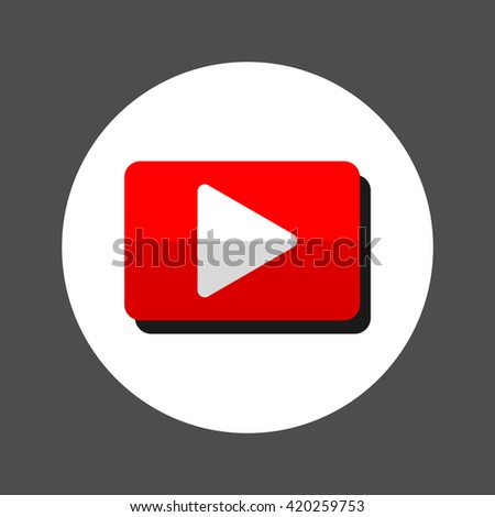 vector play icon Red and white digital element. Designed media button. Audio video player digital symbol. Rectangular app logo. - stock vector