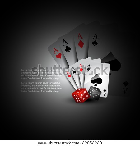 vector playing card with dices beautiful background - stock vector