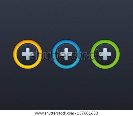 Vector Plus Icon Button Set - stock vector