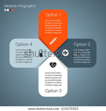 Vector plus sign infographic. Template for diagram, graph, presentation and chart. Medical healthcare concept with options, parts, steps or processes. Abstract background. - stock vector