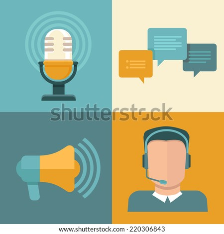 Vector podcast concept in flat style - microphone and audio icons and signs - stock vector