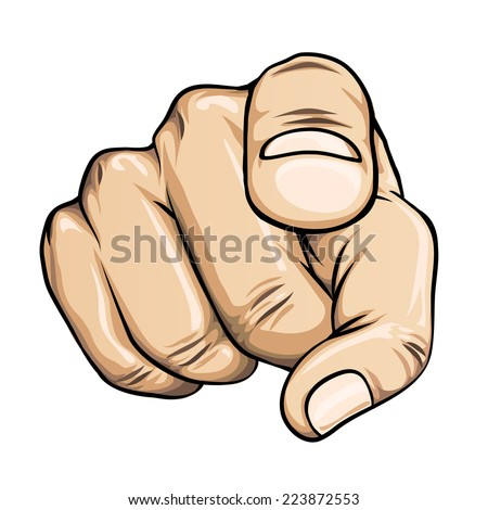 vector pointing finger or hand pointing icon isolated on white background - stock vector