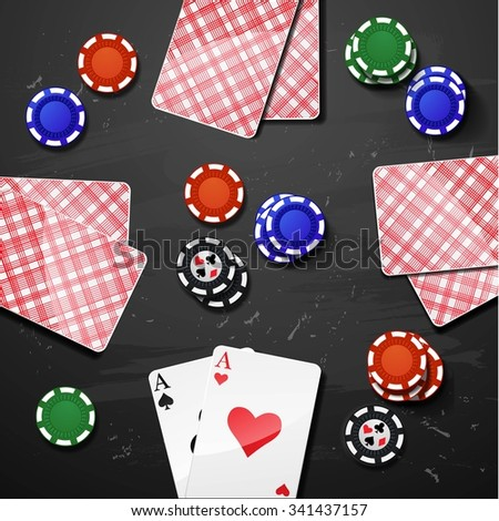 Vector Poker gambling chips. casino elements - stock vector