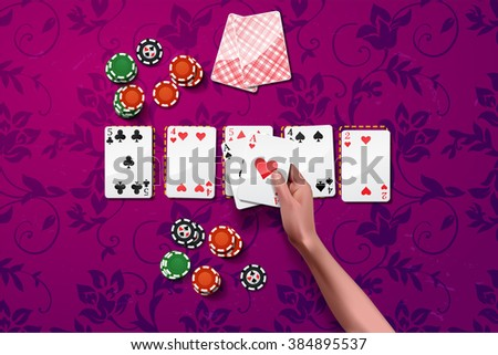 Vector Poker gambling chips. casino elements with hand holding two aces.  purple game table - stock vector