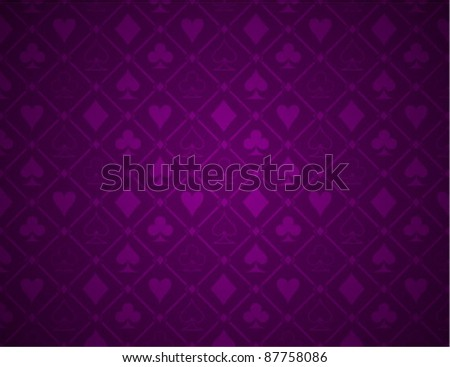 Vector Poker Purple Background - stock vector