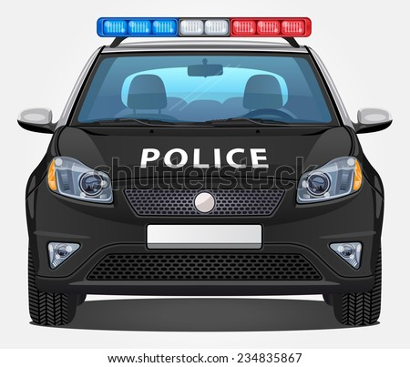Vector Police Car #1 - Front view | Visible interior version - stock vector