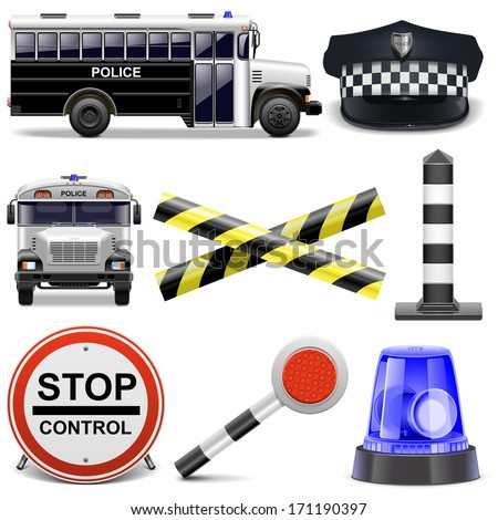 Vector Police Icons - stock vector